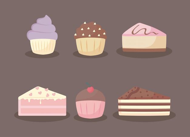 Dulces y deliciosos pasteles y cupcakes conjunto de iconos