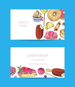 Dulces dibujados a mano o pastelería tienda tarjeta de visita