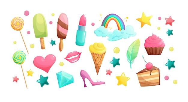 Dulces dibujos animados dulces y elementos de niña helado lápiz labial magdalena labios corazón cristal piruleta arco iris