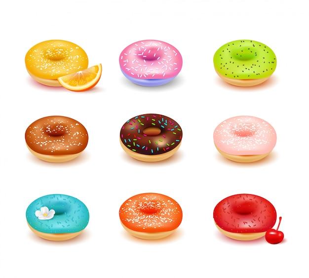 Dulces donas de colores con varios ingredientes y conjunto de surtido de frutas frescas aisladas sobre fondo blanco ilustración vectorial realista