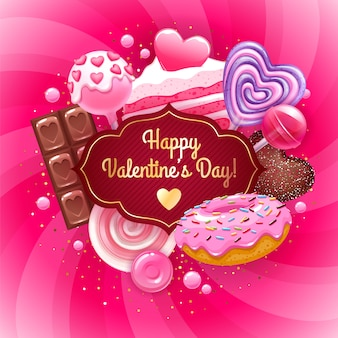 Dulces y dulces de san valentín de colores de fondo.