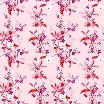 Dulces flores de orquídeas de jardín suave y muchos tipos de patrones florales sin fisuras