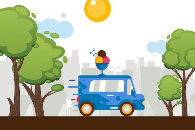 Los dulces del helado van van alrededor de la ciudad, ilustración. en el techo del coche figura bolas de helado de dibujos animados en un tazón. almacenar sobre ruedas