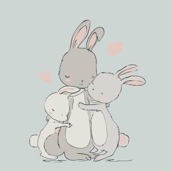 Dulces liebres, mamá e hijos. ilustración vectorial