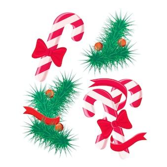 Dulces de navidad y conjunto de elementos de diseño de árbol.