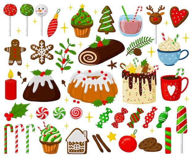 Dulces navideños navideños galletas de jengibre piruletas pasteles pasteles y bebidas conjunto de vectores