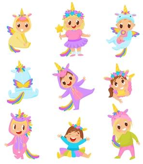 Dulces niños pequeños en trajes de unicornio conjunto ilustración sobre un fondo blanco.