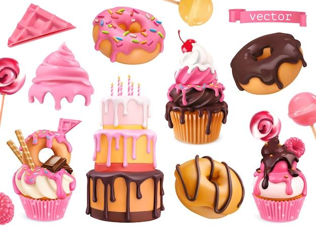 Dulces objetos realistas vectoriales 3d. cupcakes, pasteles, donas, dulces.