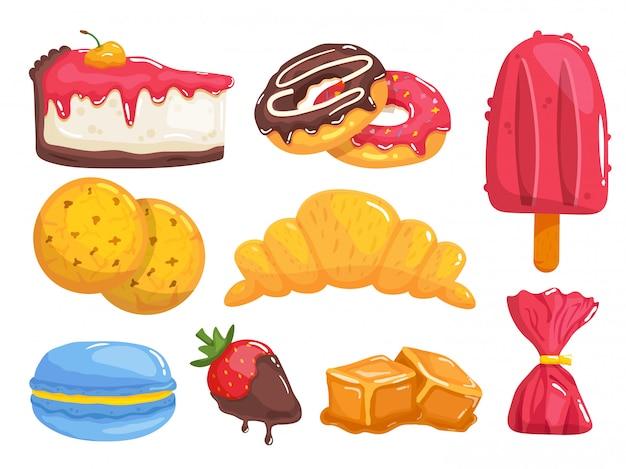 Dulces y pasteles. desayuno sabroso comida postres conjunto. pastel, rosquilla, helado, galletas, croissant, macarrones, fresa en chocolate, dulces de caramelo, colección de bocadillos frescos y dulces.