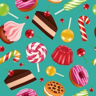 Dulces sin patrón. candy cupcake lollipops de vacaciones y pastel de crema con patrón de colores de cerezas