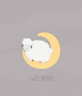 Dulces sueños: ovejita duerme en la luna.
