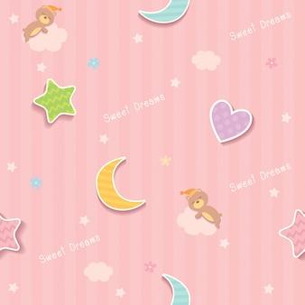 Dulces sueños rosa patrón sin costuras