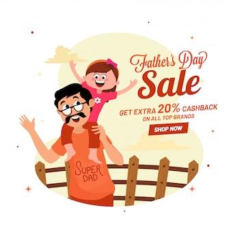 Dúo feliz de la hija y el padre, diseño de pancarta de venta del día del padre con 20% de reembolso en efectivo