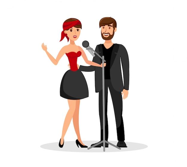 Dúo de hombre y mujer cantando juntos en micrófono
