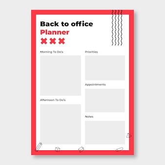 Duotono moderno planificador de regreso a la oficina