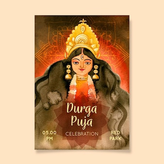 Durga-puja listo para imprimir póster