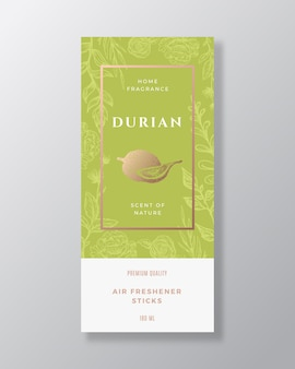 Durian hogar fragancia abstracta vector etiqueta plantilla dibujado a mano boceto flores hojas de fondo y ...