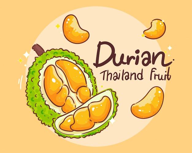Durian set fruta tailandesa mano dibujar arte ilustración vector premium