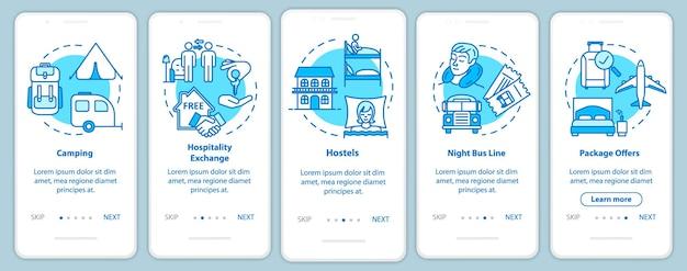 Durmiendo la pantalla de la página de la aplicación móvil onboarding con conceptos. viajes para ahorrar dinero. tutorial de turismo económico con instrucciones gráficas de cinco pasos. plantilla de vector de interfaz de usuario con ilustraciones en color rgb