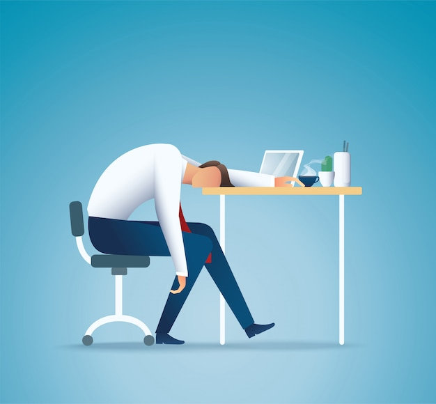Durmiendo en el trabajo hombre de negocios cansado concepto de exceso de trabajo