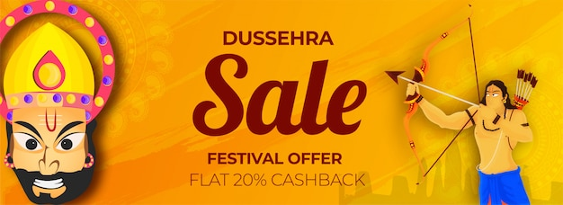 Dussehra sale encabezado o diseño de banner.