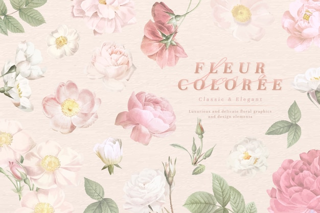 Dusty florals tarjeta abierta