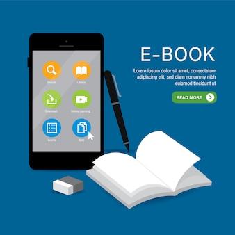E-book online education application aprendizaje en teléfono, móvil, sitio web. con la cubierta de libro en blanco libro blanco abierto en el fondo. ilustración.