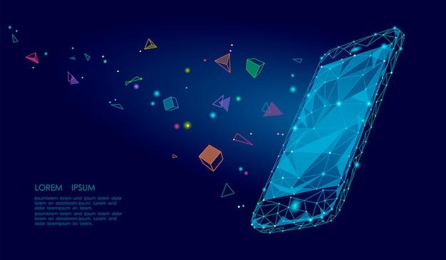 E-book teléfono inteligente móvil 3d realidad virtual imaginación visual efecto mental, bajo poligonal poligonal