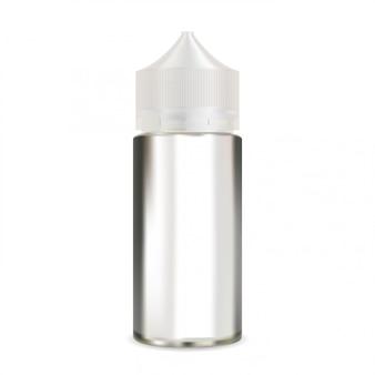 E botella de líquido simulacro. embalaje de vapor en blanco