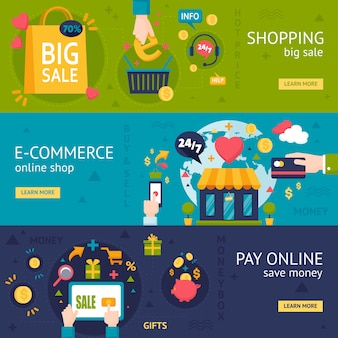 E-commerce compras banners horizontales