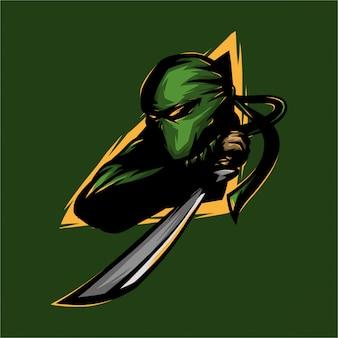 E deporte logo ninja y espada.