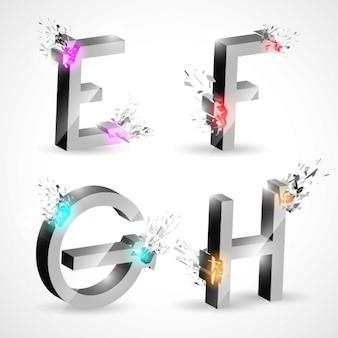 E f g h, letras metálicas con explosiones