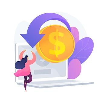E icono de web de dibujos animados de compras. tienda online, servicio de devolución de dinero, devolución de dinero. idea de reembolso financiero. retorno de la inversión. ingresos por internet. ilustración de metáfora de concepto aislado de vector