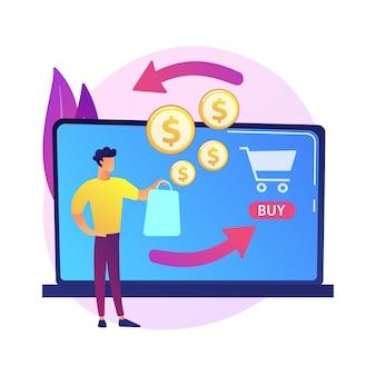 E icono de web de dibujos animados de compras. tienda online, servicio de devolución de dinero, devolución de dinero. idea de reembolso financiero. retorno de la inversión. ingresos de internet