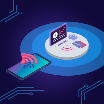 E ilustración de color de cartera. tarjeta de crédito, billetera electrónica, aplicación para smartphone. concepto de conexión inalámbrica iot, tarjeta de débito y teléfono móvil sobre fondo azul