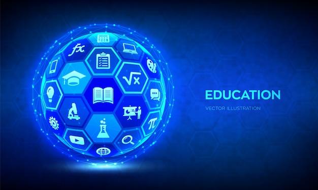 E-learning concepto innovador de tecnología de educación en línea.