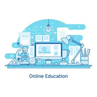 E-learning, educación y banner de la universidad.