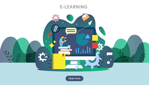 E-learning, libro electrónico o concepto de educación en línea para banner