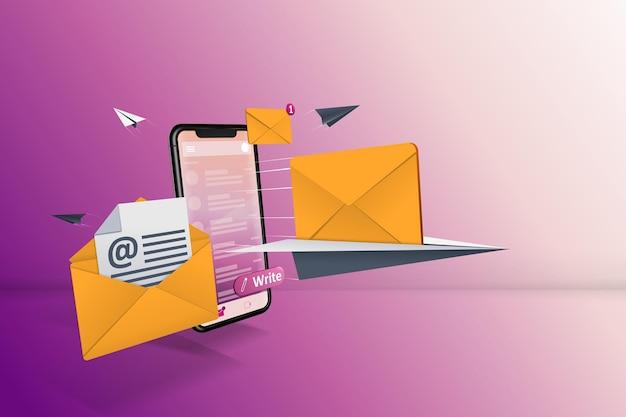 E-mail en línea illustartions con ilustraciones de envío de correo
