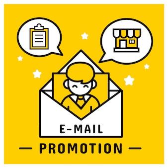 E-mail promoción de marketing enviar al cliente.