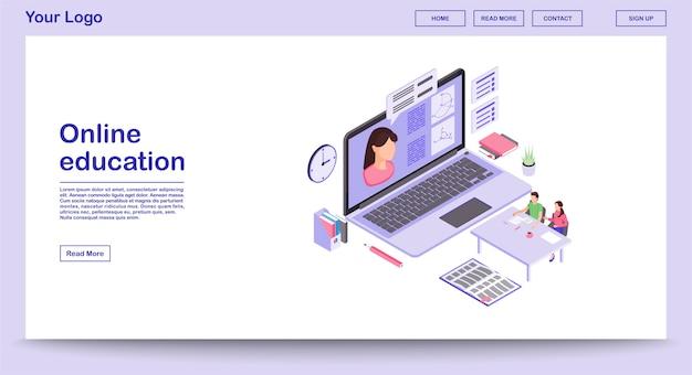 E plantilla de vector de página web de aprendizaje con ilustración isométrica