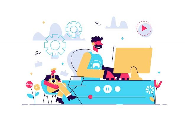 E-sport gamer, reproducción en vivo de videojuegos en línea y visor con computadora portátil. transmisión de deportes electrónicos, programa de juegos en vivo, concepto de negocio de transmisión en línea. ilustración aislada violeta vibrante brillante