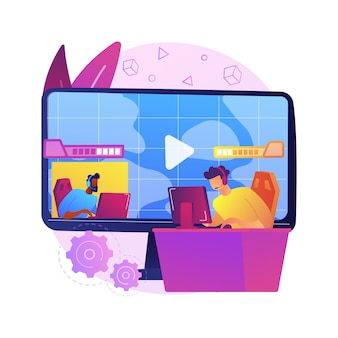 E-sport juego streaming ilustración del concepto abstracto. esport show de juegos en vivo, negocios de transmisión en línea, soluciones para la grabación de juegos competitivos, entretenimiento global.
