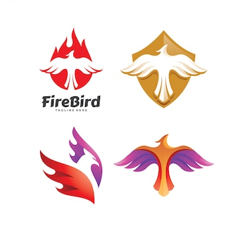 Eagle falcon bird phoenix logo set