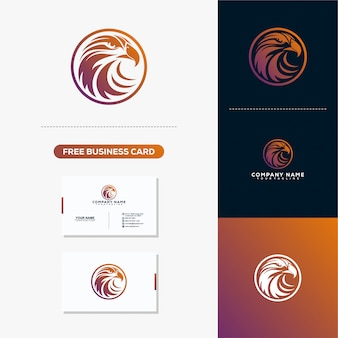 Eagle head creative logo design concept vector plantilla