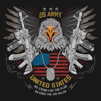 Eagle head usa america país con arma de armas ak-47 y wings iron en el vector de la bandera de los ee. uu.