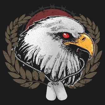 Eagle head usa ejército con etiqueta vector de ilustraciones