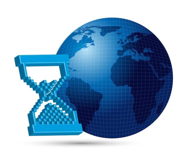 Earthi con reloj de arena 3d con ilustración de vector de sombra
