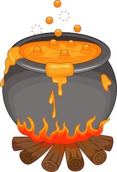 Ebullición de poción en la chimenea