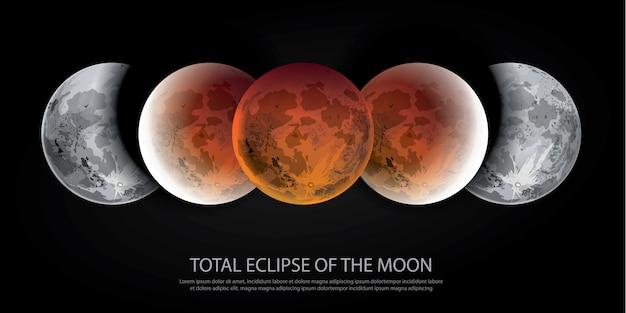 Eclipse total de la ilustración vectorial de la luna
